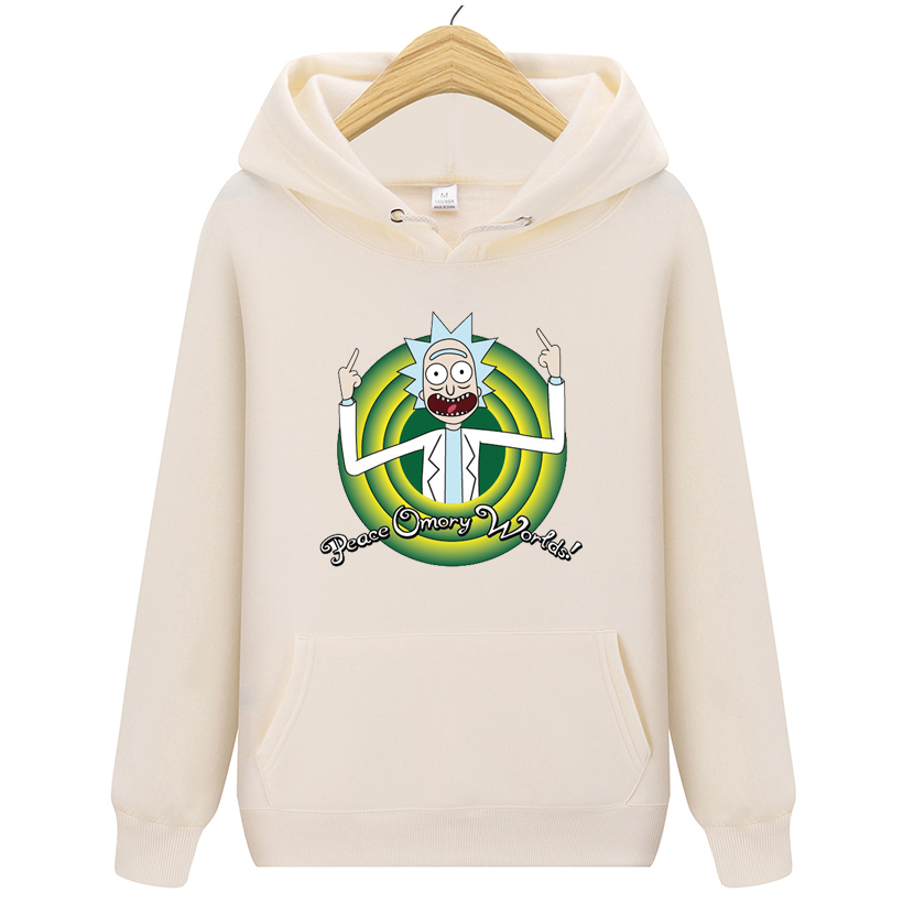 Fashion Funny Mens Hoodies Long sleeves Hoody Hip Hop Men Brand Hoodie Sweatshirt Rick Morty Print Men Casual Tracksuits