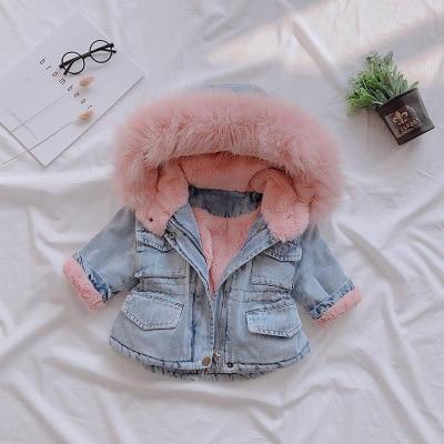Baby Girls Dress Cotton Coat Thicken Jacket 2021 Winter Warm Fur Hooded Kids Top Wear Long Sleeve Jackets 1 2 3 4 5 Years 1