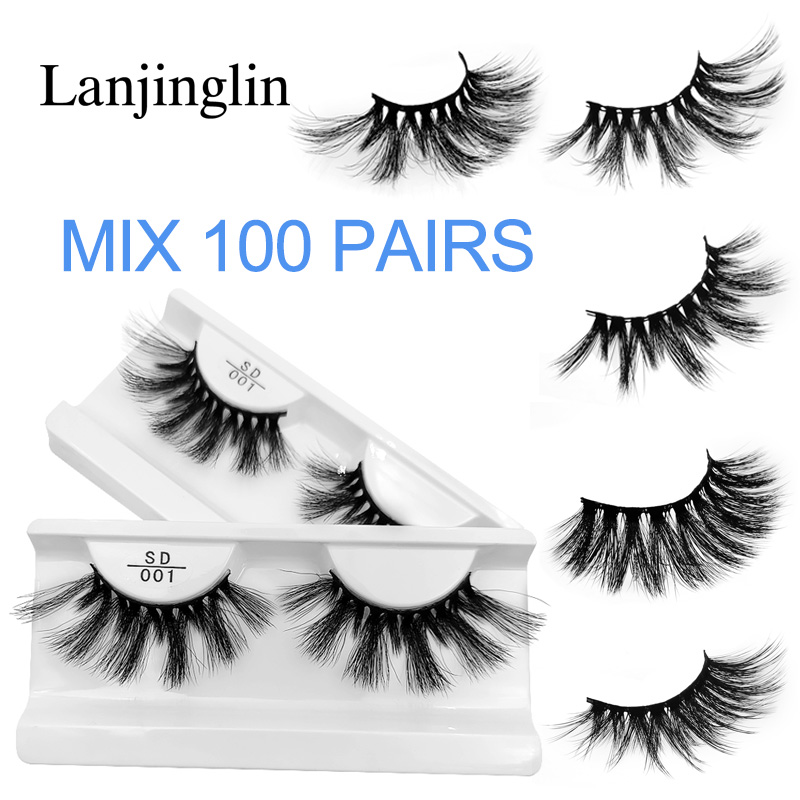Wholesale Bulk 25mm Mink Lashes 20/30/40/50/100 Pairs Soft Long False Eyelashes Natural Fluffy Fake Eyelash Extension Eye Makeup