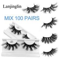 wholesale bulk 25mm mink lashes 20/30/40/50/100 pairs soft long false eyelashes natural fluffy fake eyelash extension eye makeup
