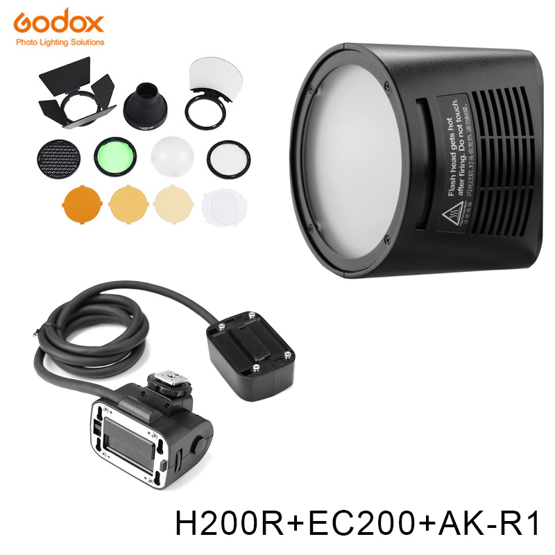 <font><b>Godox</b></font> <font><b>AD200</b></font> V1 <font><b>PRO</b></font> Glash Accessory <font><b>WITSTRO</b></font> H200R Round Flash Head and EC-200 Extension Head AK-R1 Color temperature reflector image