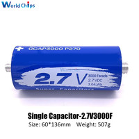 2.7V 3000F Super Farad Capacitor Long Foot Super Capacitor for Car Auto Power Supply 2.7V3000F 136*60mm Super Capacitance