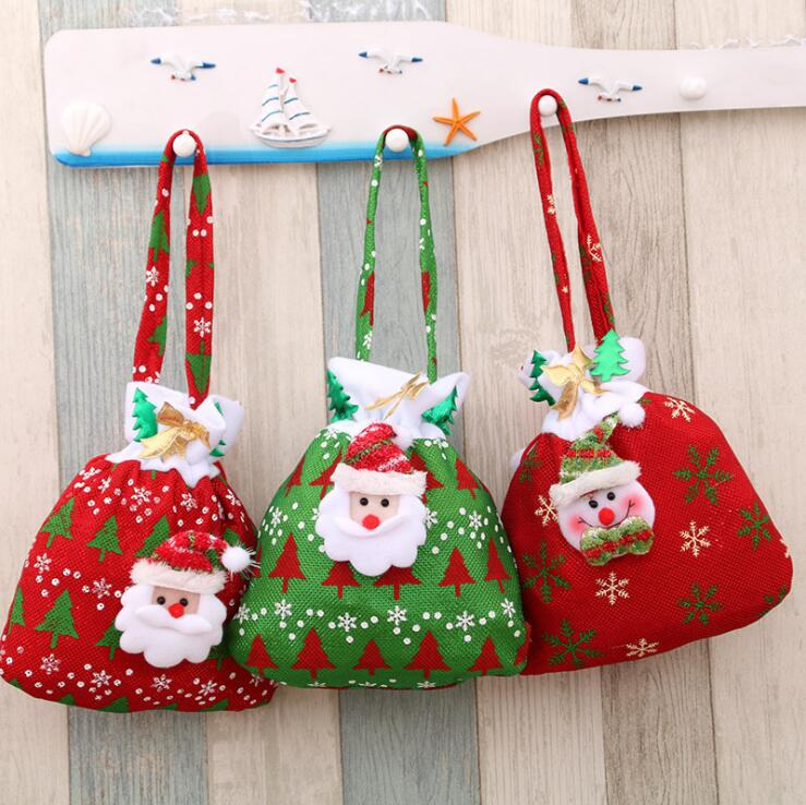 2019 Fashion 21*23cm Women's Cartoon Velvet Bag Drawstring Christmas Gift Bag Jewelry Packing Bags Wedding/Christmas Gift Bag