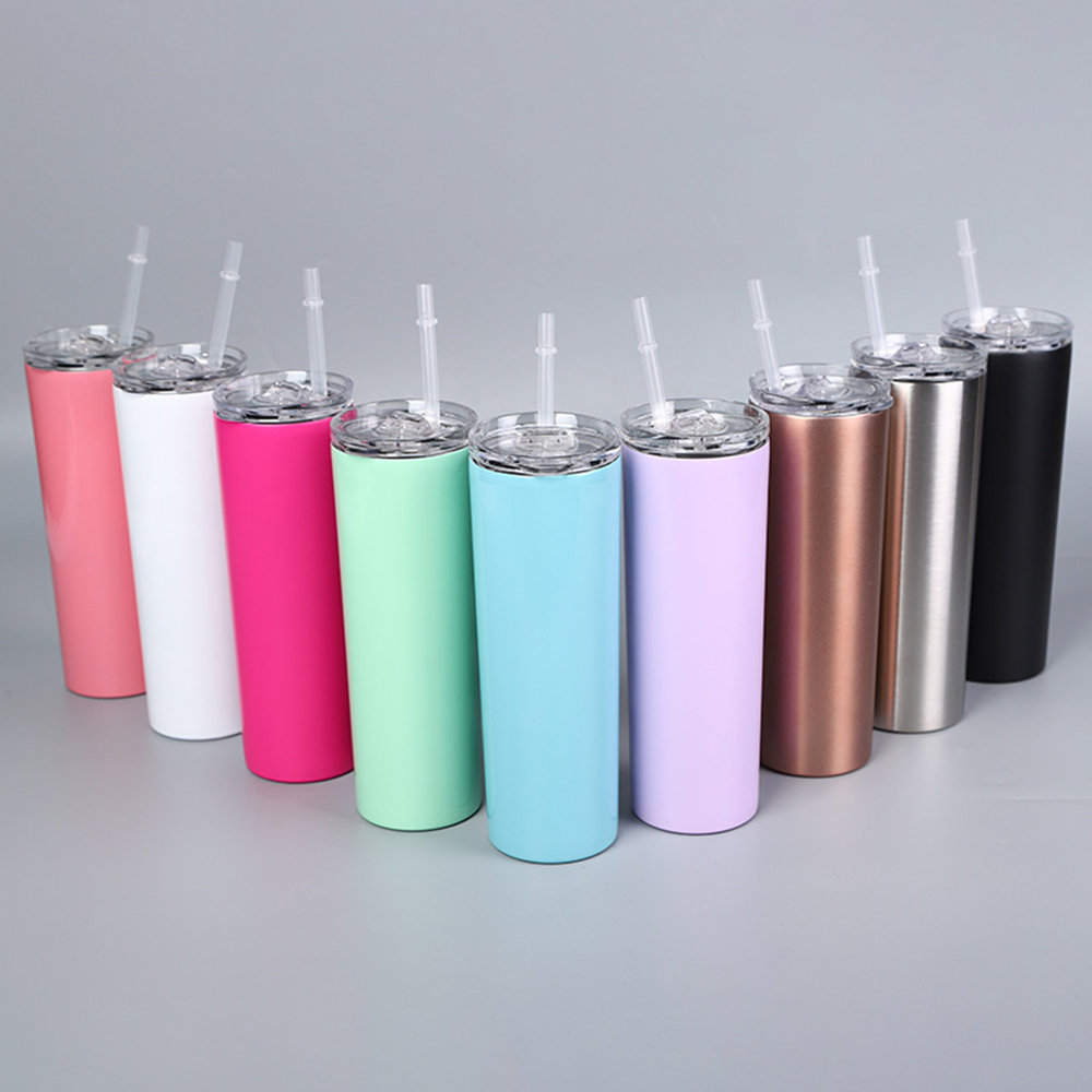Stainless Steel Slim Tumbler Cup With Straw Double Vacuum Insulated Lid 20 Oz