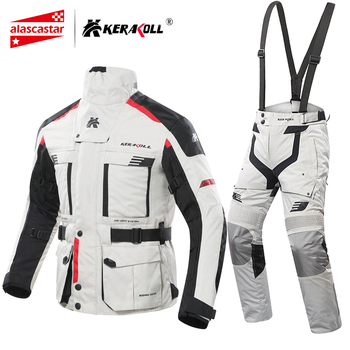 KERAKOLL Motorcycle Jacket Men Chaqueta Moto Waterproof Moto Racing Jacket Set Protective Gear Motocross Off-Road Racing Jacket