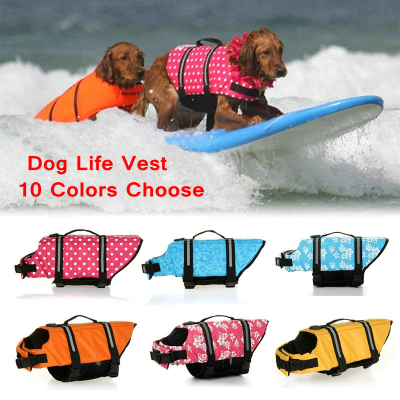 Summer Dog Life Vest Dogs Swimming Reflective Pet Life Jacket Neck Harness Safety Clothes for Small Large Dog Bathing