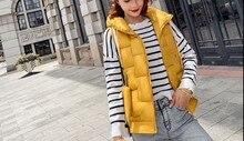 2019 autumn and winter Women Cotton vest fashion down cotton cardigan Hom Shoulder  Size Coat