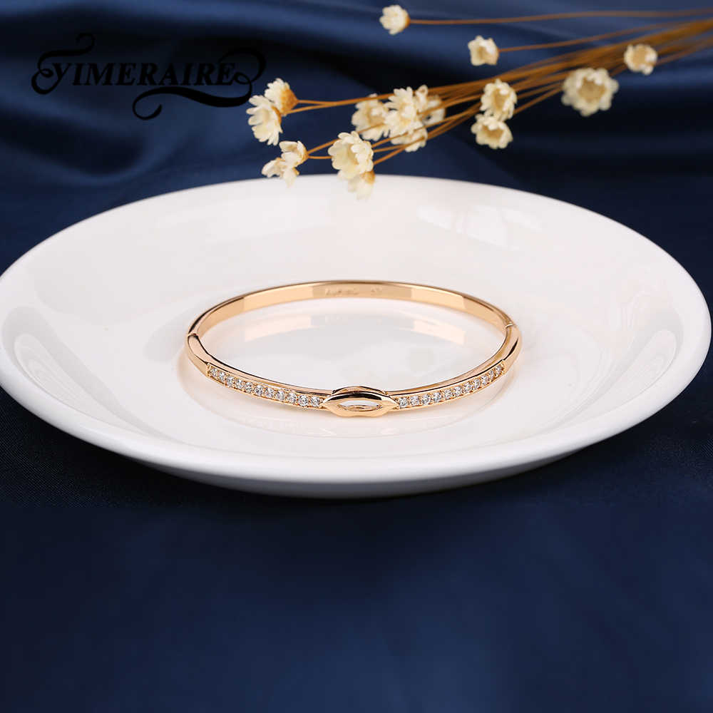 Fashion Top Quality 585 Rose Gold Bracelet Infinity Symbol White Zircon Women Exquisite Bangle Wedding Engagement Trendy Jewelry
