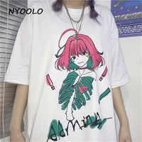 NYOOLO Harajuku стильная свободная футболка с короткими рукавами и круглым вырезом для девочек, летняя Готическая свободная футболка, женская оде...