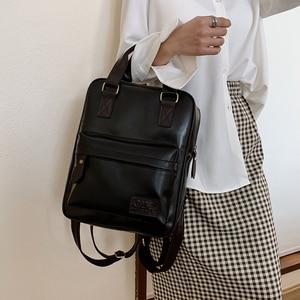 Image 4 - Women Backpack Female Fashion Pu Leather Backpack School Backpacks for Teenagers Girls Vintage Student Book Bags Retro Rucksack