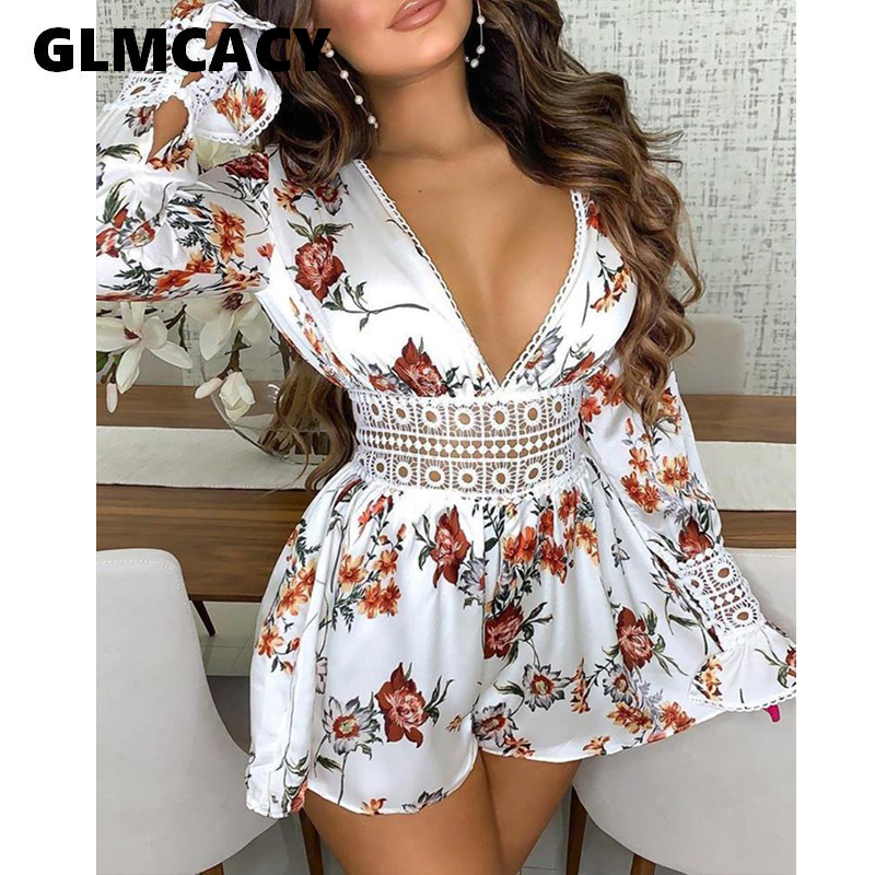 Women Summer Plunge Floral Print Playsuits Hollow Out Backless Rompers Sweet Boho Beach Holiday Romper Outfits