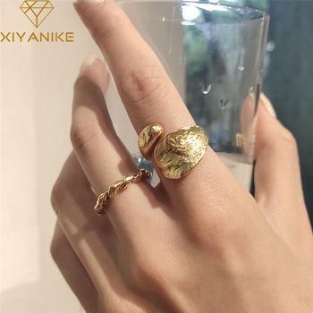 Серебро 925 пробы, корейский стиль, в форме капли, золотое, неправильное, с текстурой оловянной фольги, Открытое кольцо, женские модные ювелирные изделия, алиэкспресс в рублях с бесплатной доставкой каталог