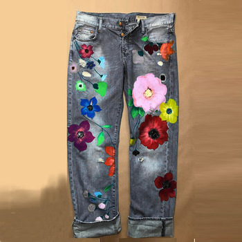 Cute Flower PrintedJeans Women Loose Jeans New Style Direct Jean Hot Fashion Ladies Printed Thin Denim Spring And Summer Breathe
