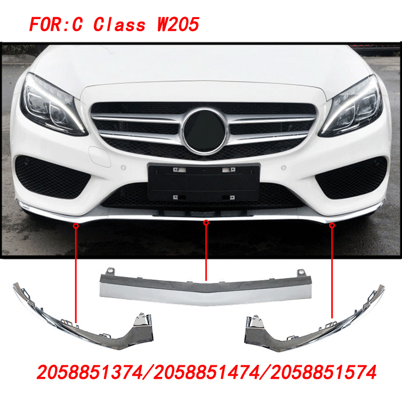Front Lower <font><b>Bumper</b></font> Lip Body Kit Spoiler Splitters for <font><b>Benz</b></font> C Class <font><b>W205</b></font> C300 C400 C63 AMG 2058851374/2058851474/2058851574 image