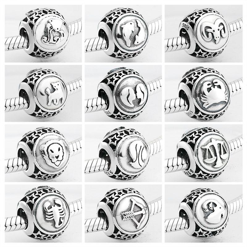 925 Sterling Silver fashion 12 Constellation Star Zodiac beads charms Fit Original Pandora Charm Bracelet Jewelry making(China)