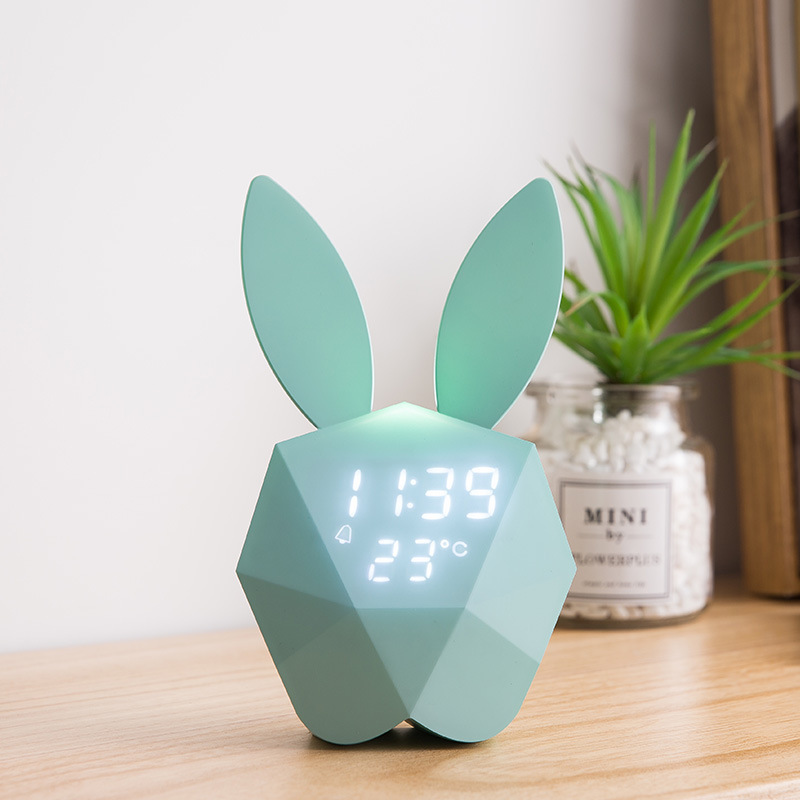 USB Rabbit Alarm Clock Multifunction Sensor LED Night Light Kid Baby Bedroom Home Modern Indoor Bedside Decoration Gift Lamp