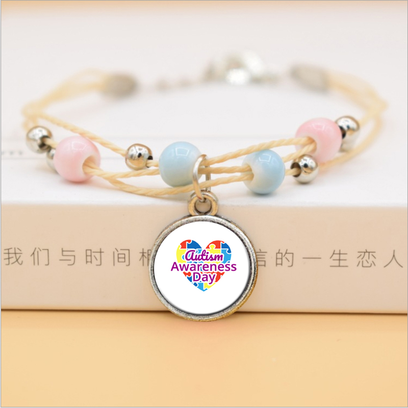 Autism Awareness Puzzle Piece Bracelets Hope Colorful Cabochon Glass Ceramic Bracelets Girl Women Jewelry(China)