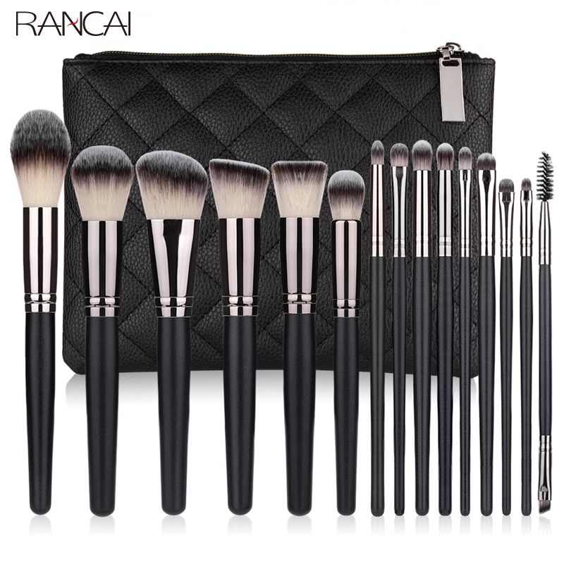 RANCAI 10/15pcs Professiona Make-up Brushes Powder Foundation Eyeshadow Make Up Brushes Set Cosmetic Brushes Soft Synthetic Hair