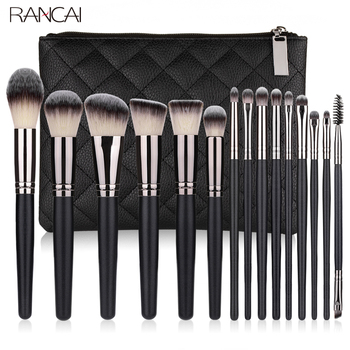 RANCAI 10/15pcs Professional Makeup Brushes Set Powder Foundation Eyeshadow Soft Synthetic Hair Brushes With Free Shipping free shipping 2013 new arrival 12pcs natural goat hair purple makeup brushes sets with free pu leather cylinder dropship