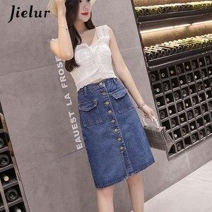 Image 3 - Jielur Hohe Taille Denim Röcke Plus Größe Buttons Taschen Klassische Jeans Rock für Frauen S 5XL Fashion Korean Elegante Jupe Femme