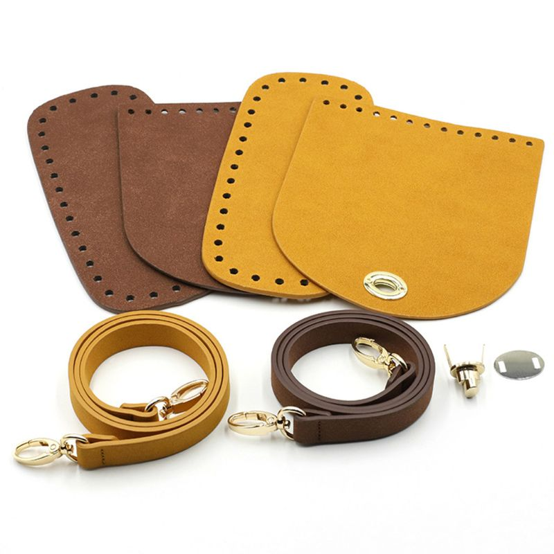 3Pcs/Set Artificial Leather Shoulder Bag Bottom Strap Replacement For DIY Knitting Crochet Handbag Sewing Accessories