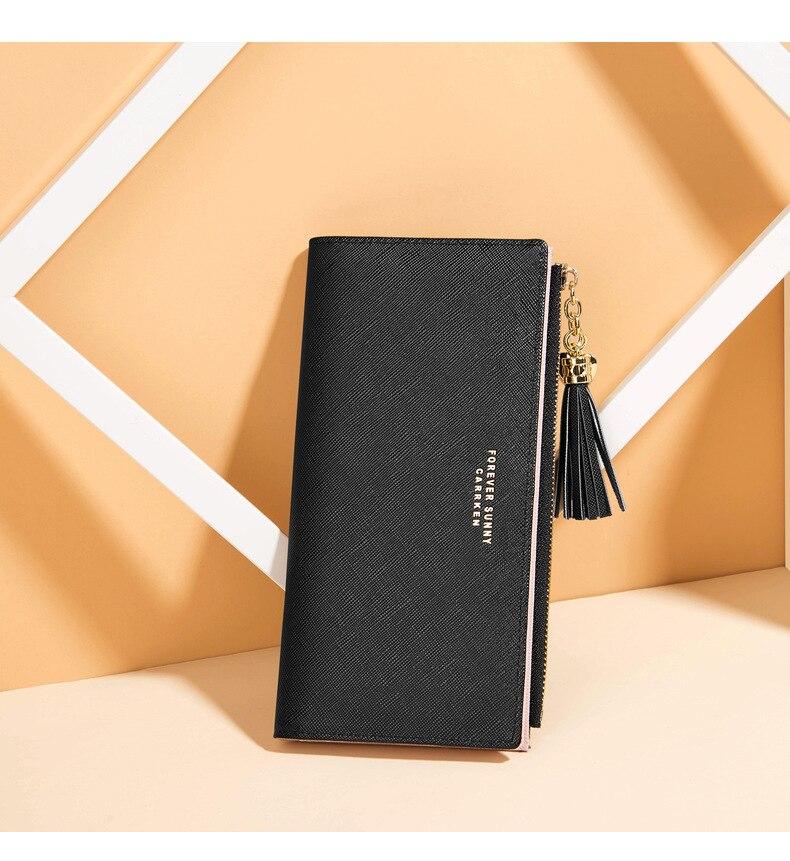 Женский кошелек с кисточками, длинный милый кожаный кошелек с кисточками, женские кошельки на молнии, Женский кошелек, клатч, Cartera Mujer