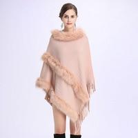 Elegant Faux Fox Fur Phocho Cape Coat Women Autumn Winter Knitted Cloak Shawl Female Round Collar Tassels Pullover Sweater Cloak