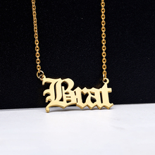 Customized Nameplate Necklace Women Men Personalized Necklaces Pendents Old English Font Word Collar Jewelry Accessories Mujer