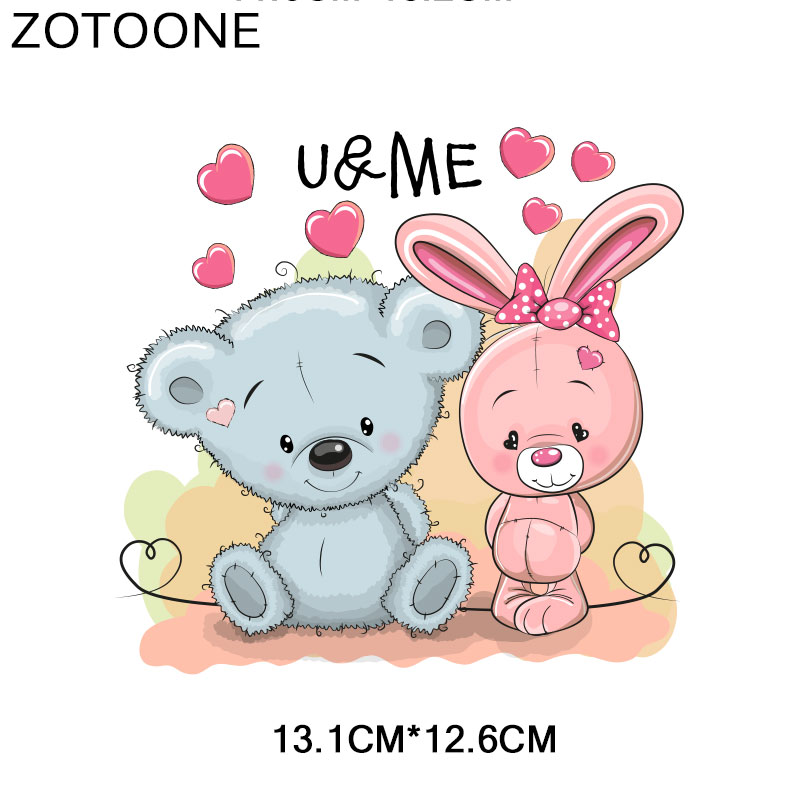 ZOTOONE Animal Patch Cute Owl Bear Sticker Iron on Print on Transfers for Clothes T shirt Accessory Applique DIY Heat Transfer G in Patches from Home Garden