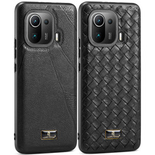 Luxury Business Leather Back Case For Xiaomi Mi 11 Pro Mi11 Deluxe pebbled weave pattern Para Cover
