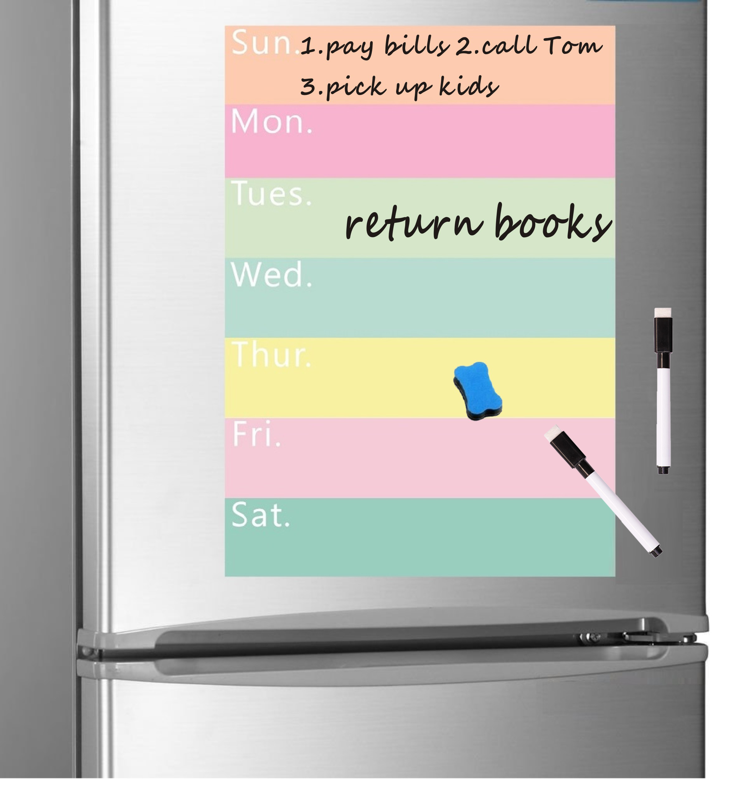 A4 Magnetic Whiteboard For Fridge Magnet Weekly Planner Grocery List Notepad Refrigerator Magnet White Board Message Board Sheet