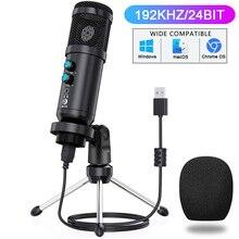 Microphone professionnel à condensateur USB, enregistrement cardioïde, 192kHz/24 bits, avec touche muette, Gain, bouton Echo