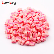 50pcs 9mm Pink Love Heart Beads Polymer Clay Beads Loose Spacer Beads for Jewelry Making DIY Bracelet Necklace Accessories