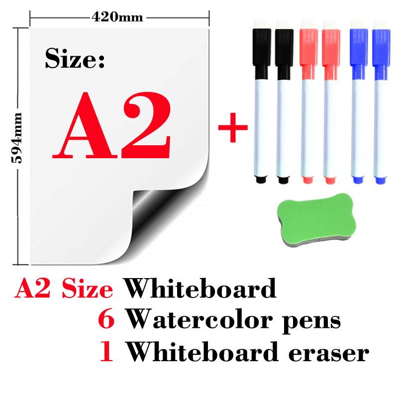 A2 Size Magnetic Whiteboard Fridge Presentation Boards School Home Kitchen Message Boards Writing Sticker Dry Erase White board image