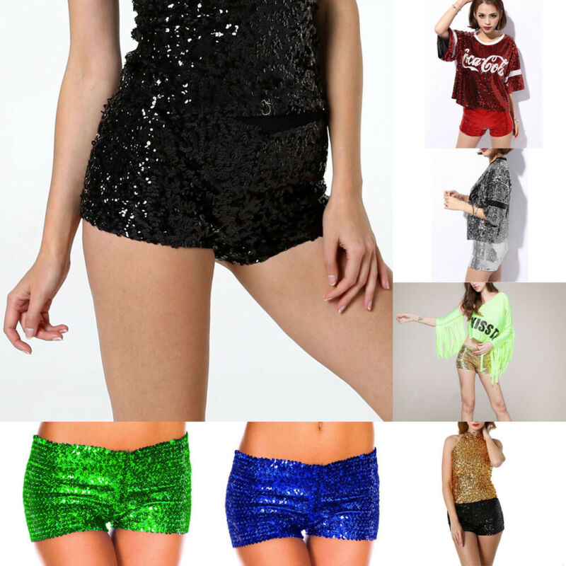 HOT Ladies Sexy Sequin Shorts Bling Boy Leg Dance Wear 1980s Costume Party Ladies Sexy Sparkling  Shining Bodycon Shorts