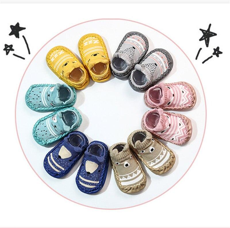 Носки для новорожденных с резиновой подошвой; носки для новорожденных; сезон осень-зима; детские носки-тапочки; противоскользящая обувь; носки с мягкой подошвой