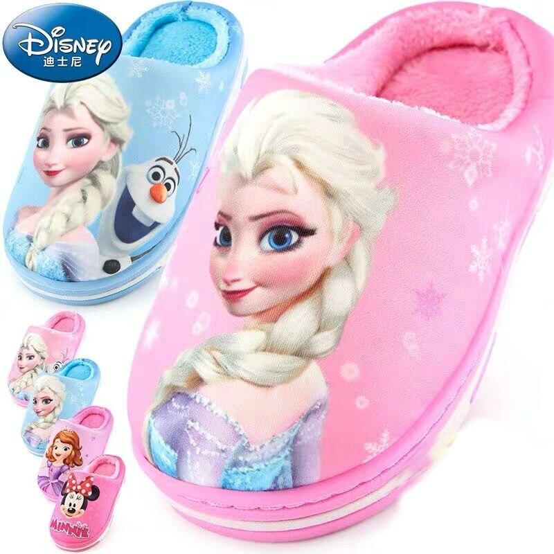 2019 Nova Genuine Da Disney mickey Sofia Congelado elsa crianças sapatos chinelos bebê inverno anti-skid meninos das meninas das crianças brinquedo de presente
