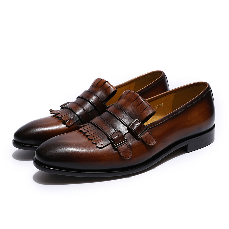 Breathable European Style Mens Loafers Genuine Leather Double Buckle Monk Strap Shoes Wedding Party Banquet Slip On Men Footwear