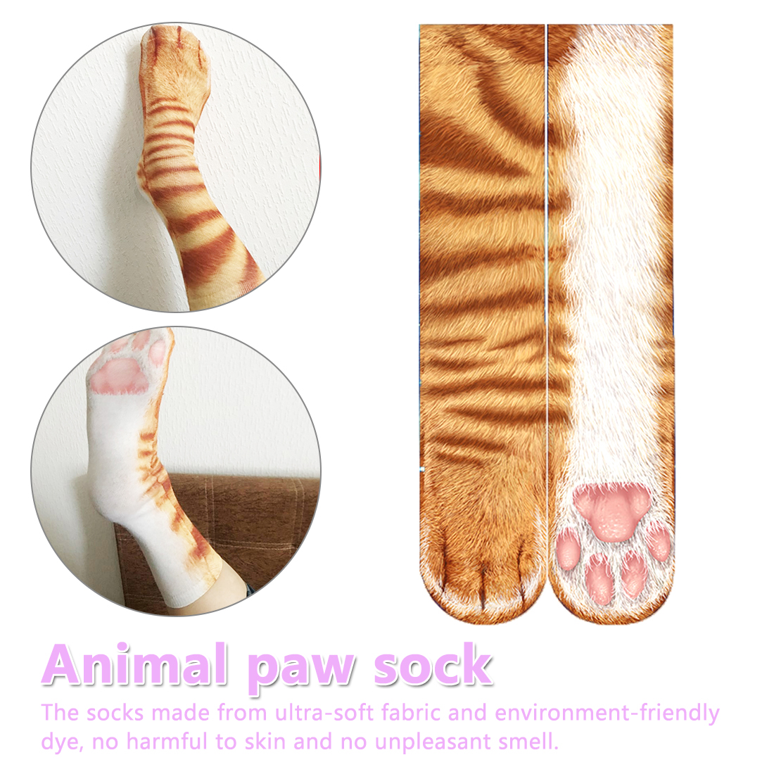 3D Print Animal Paw Socks Animal Feet Socks Tiger Cat Leopard Paw Socks Cotton High Socks For Men Women