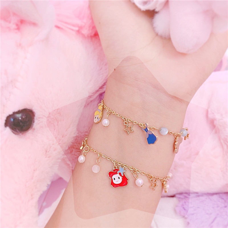 Lovely Princess Alice Jewelry Bracelet Accessory Rhinestone Decor Stylish Hand Chain Ring For Girls Dailwearing Gifts