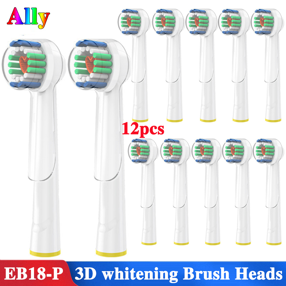 12PCS For Oral B 3D White Replacement Electric Toothbrush Heads For Braun Oral B Triumph Vitality Electric Toothbrush Heads image