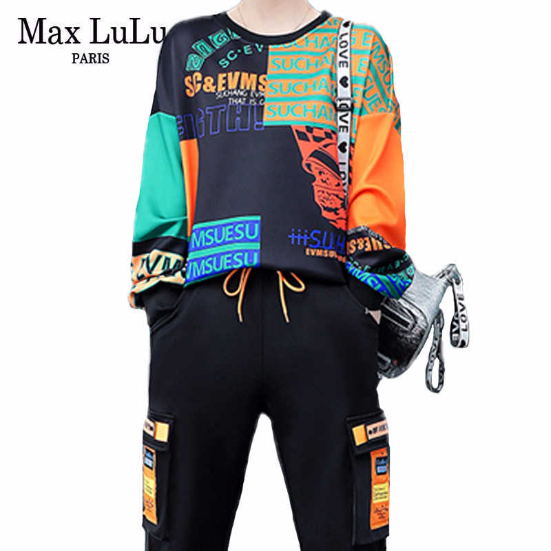 Max Lulu 2020 Lente Koreaanse Mode Dames Losse Twee Stukken Sets Womens Patchwork Gedrukt Suits Casual Oversized Tops En Broek