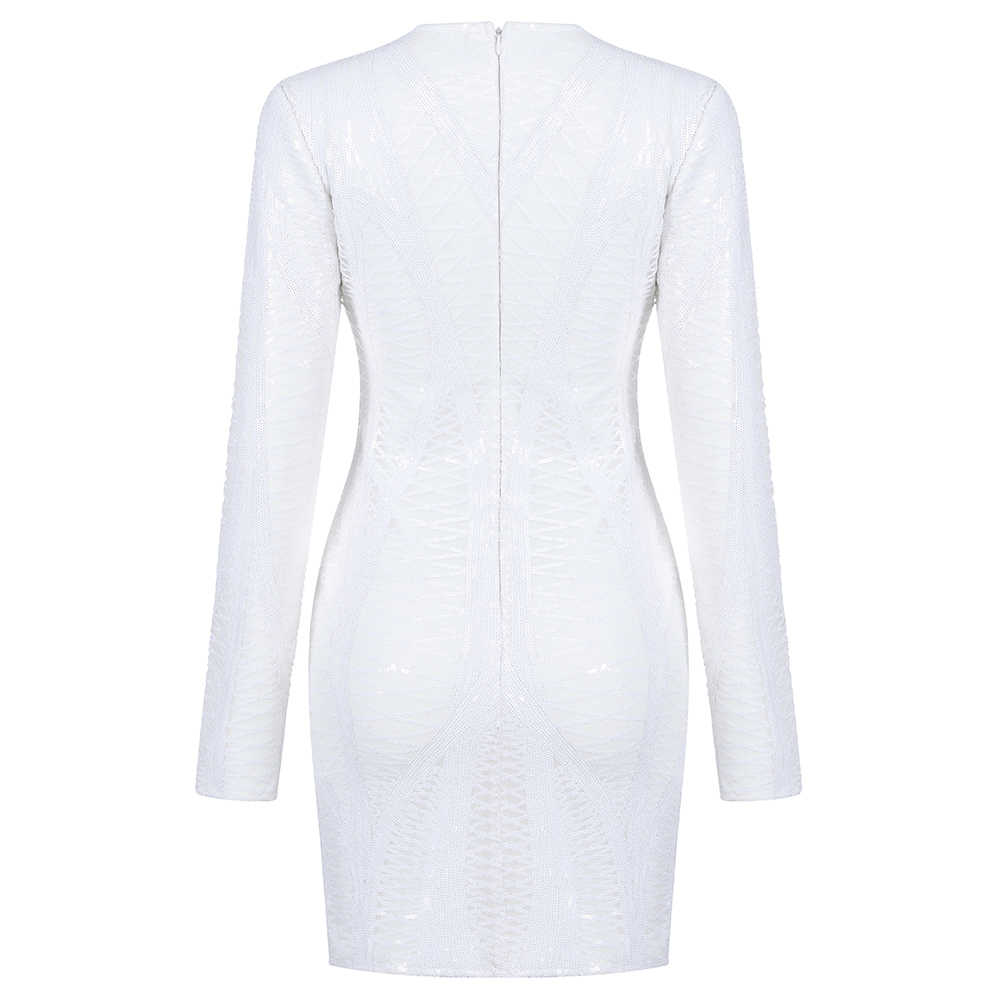Primavera nova celebridade sexy noite branco vestidos nightclub mulheres 2019 outono lantejoulas manga longa estiramento bodycon vestido