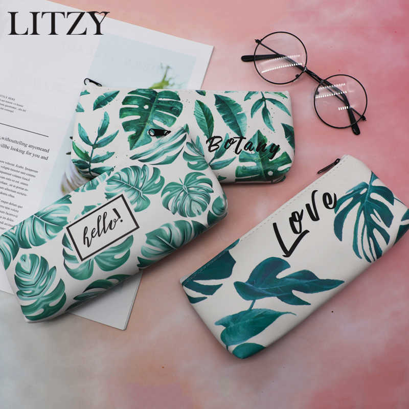 School Pencil Cases for Boy Girl Stationery Green Plant Leaves Pencil Case Leather Pencil Box Zipper Pen Bag School Supplies