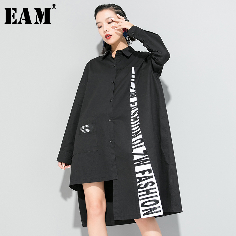 [EAM] Women White Letter Printed Big Size Long Blouse New Lapel Long Sleeve Loose Fit Shirt Fashion Spring Autumn 2020 1R658