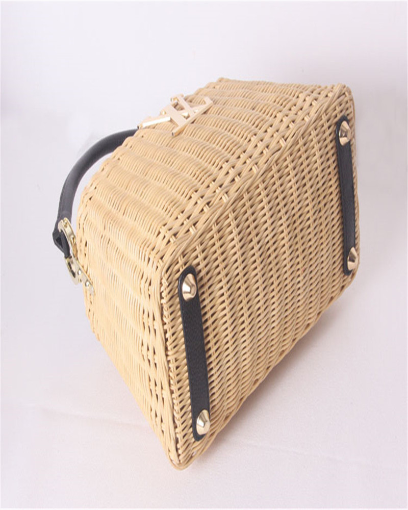 Image 5 - Womens rattan handbag luxury Messenger bag genuine leather handmade rattan weaving 2019 summer beach bags for women sac mainTop-Handle Bags   -