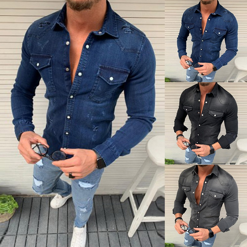 Denim Shirt Men Fashion Men's Casual Long Sleeve Wash Slim Fit Denim Blouse Shirts Man Tops Spring Autumn Denim Shirt For Men