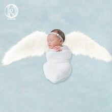 D&J 2019 New Angel Wings Blanket Photography Props Faux Fur Stuffer Background Baby Photo Soft Newborn Studio