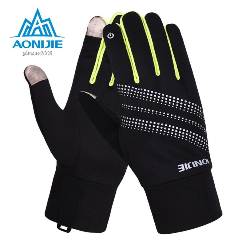 AONIJIE перчатки с сенсорным экраном, ветрозащитные Теплые Зимние флисовые перчатки для бега, бега, пешего туризма, катания на лыжах, светоотра...