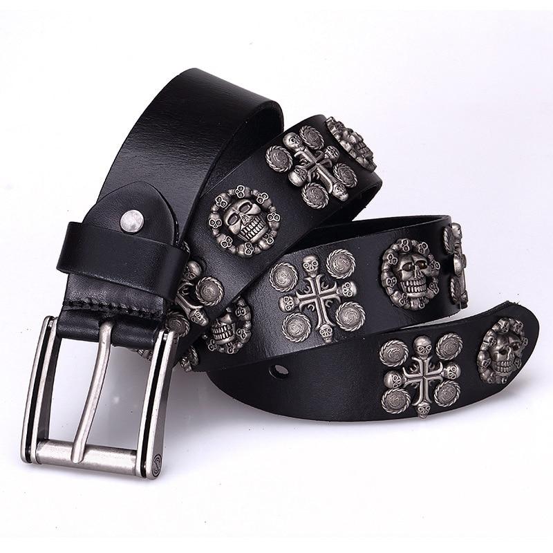 Women's Men's New Punk Styleskull Belts High Quality Genuine Leather Belt For Women Men Designer Belts Unisex Luxury Brands 2020